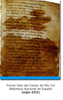 Manuscrito del Cantar de Mío Cid